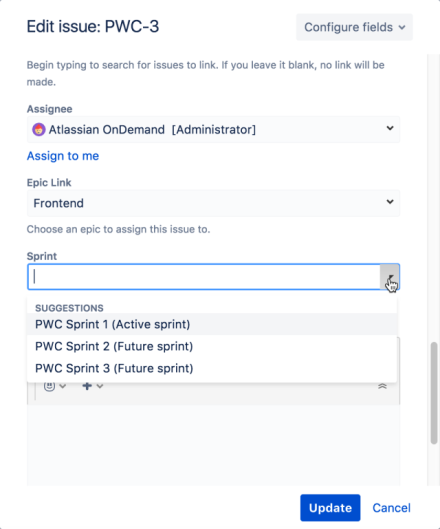 The edit screen in the issue named PWC-3. The cursor's clicked the Sprint dropdown to display a list of suggested Sprints.