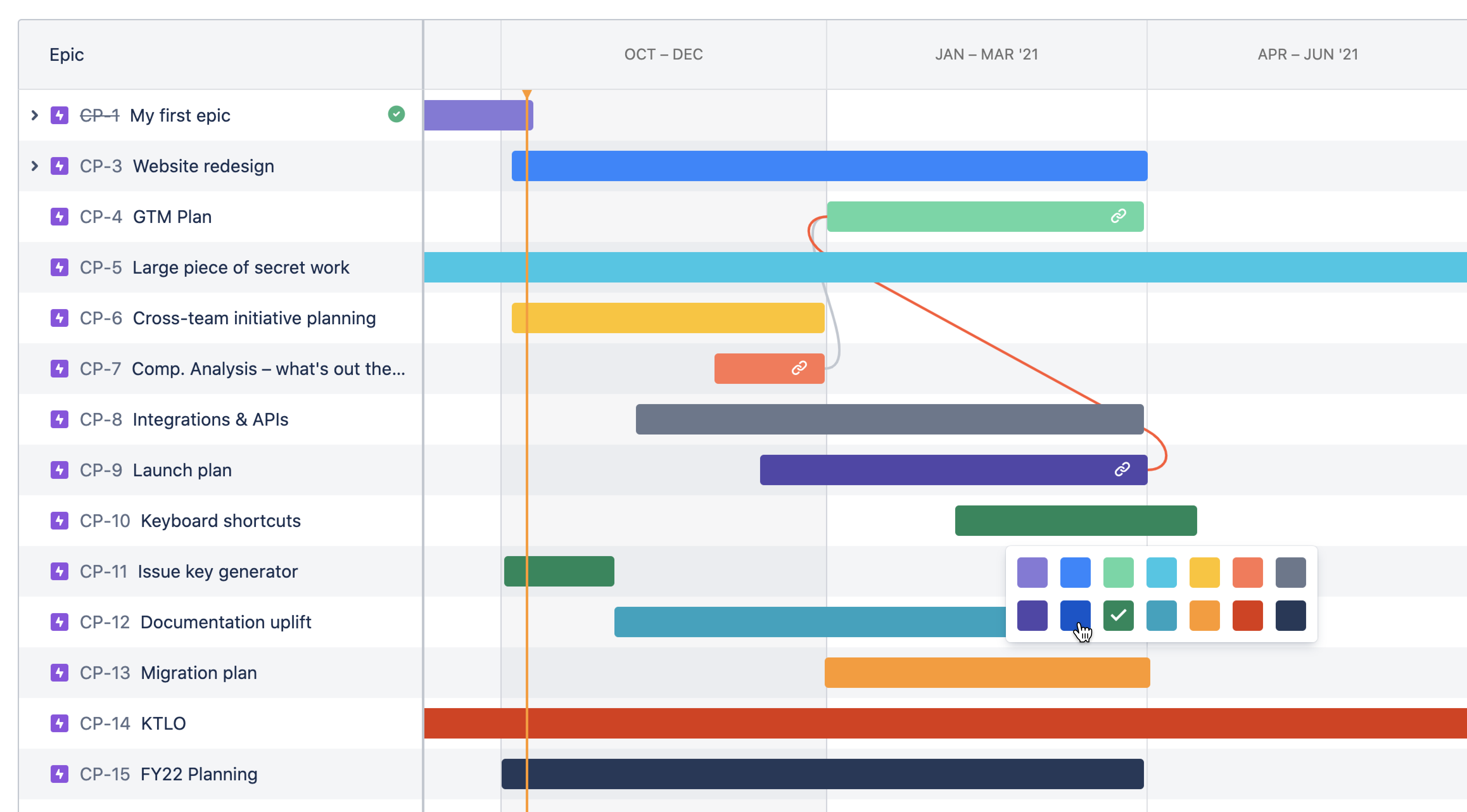 A screenshot of the company-managed roadmap. An epic has been right-clicked, to display various color options.