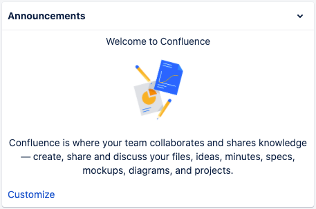 Announcements in the Confluence Cloud home screen