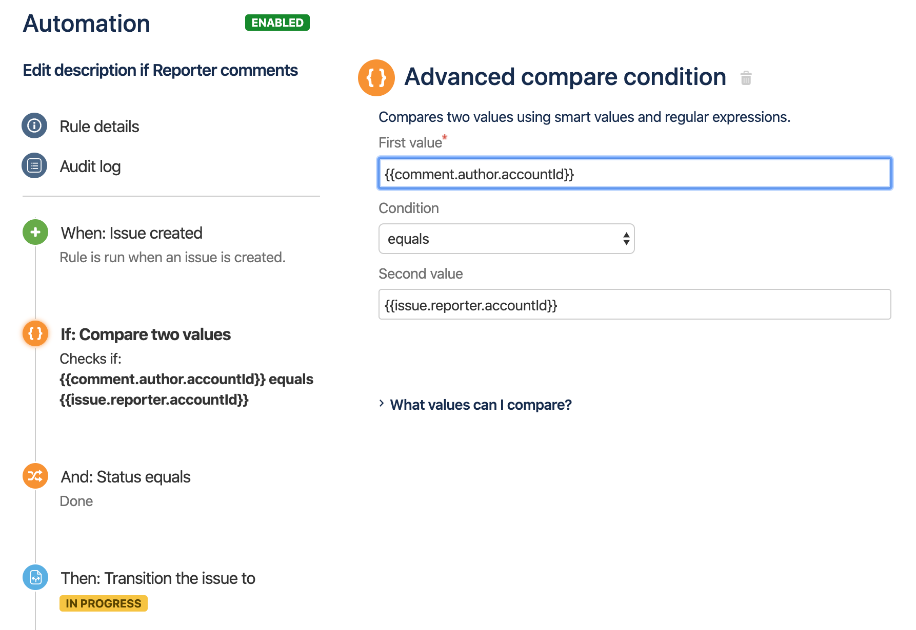 The fields available on the Advanced compare condition