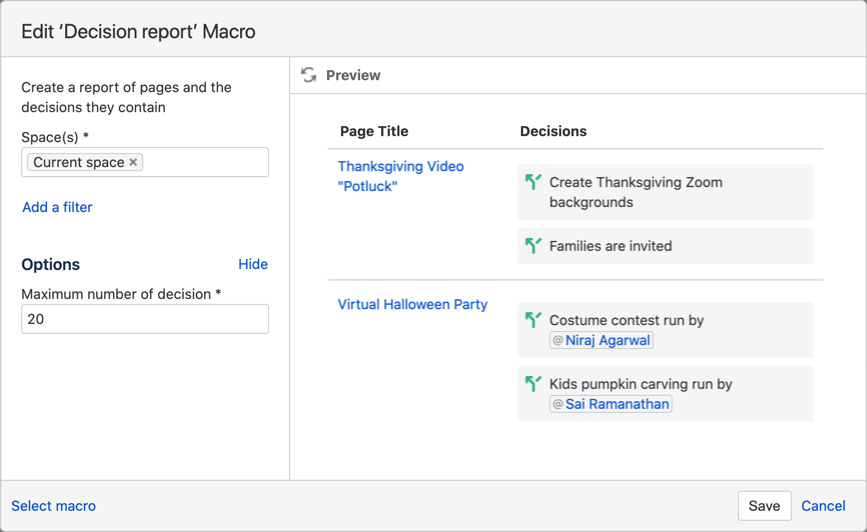 Setting up the Decision Report Macro to show all the decisions and the pages they are on in the current space