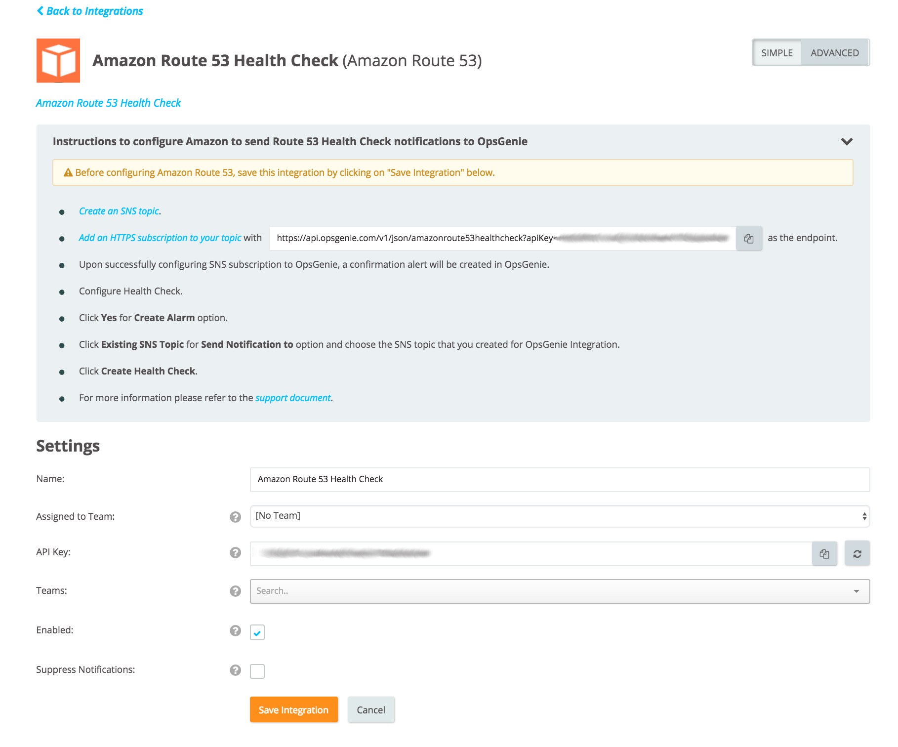 Amazon route 53 Health Check integration