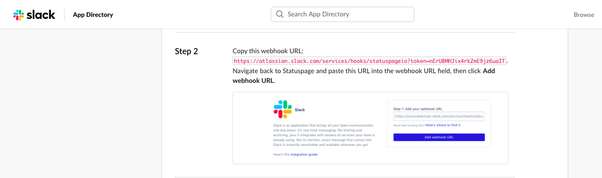 The Slack app instructions for set up, shows Step 2 where you copy the webhook url