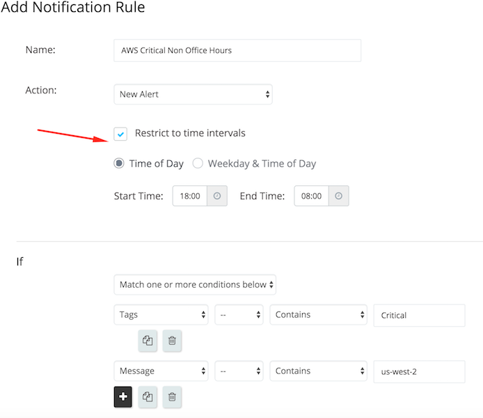 A screenshot showing some settings to Opsgenie's notification rules.
