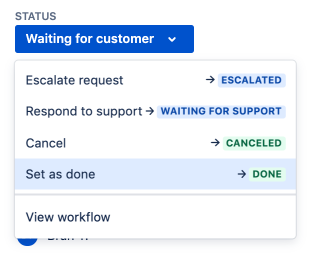 Workflow status dropdown when a status is selected