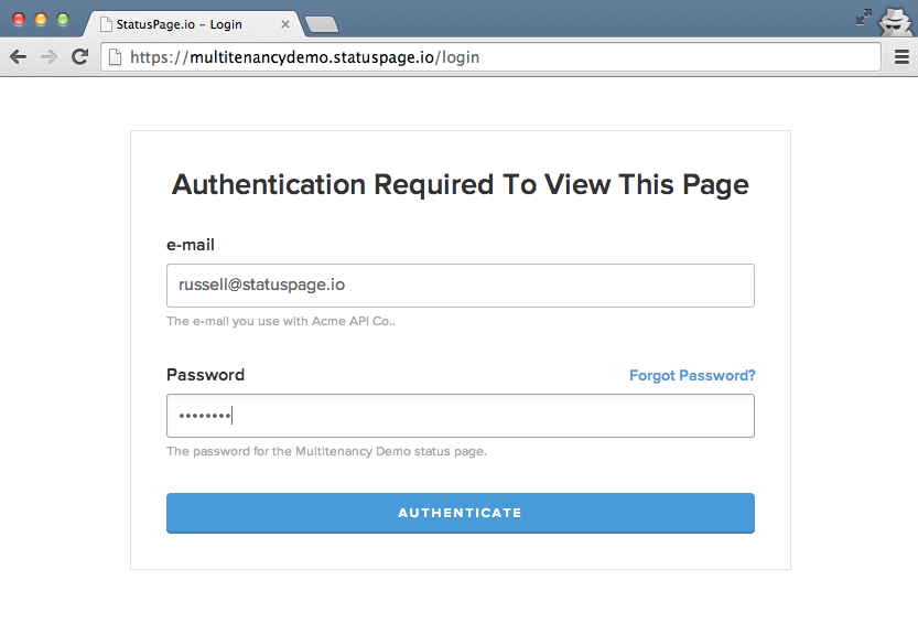 screenshot of required authentication