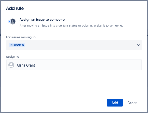 The Add rule screen. Setting up a new rule to automatically assign an issue to a user.