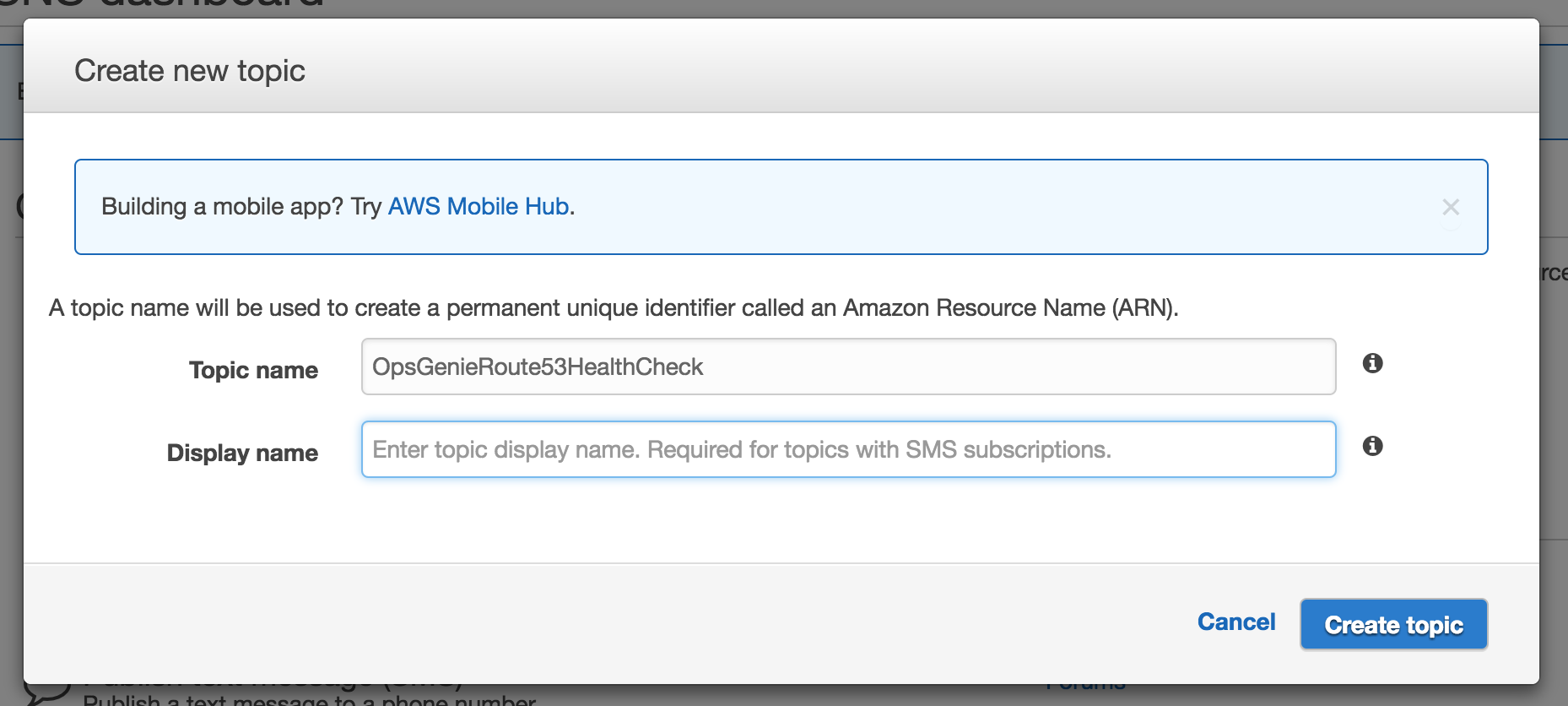 Amazon Route 53 Health Check SNS topic