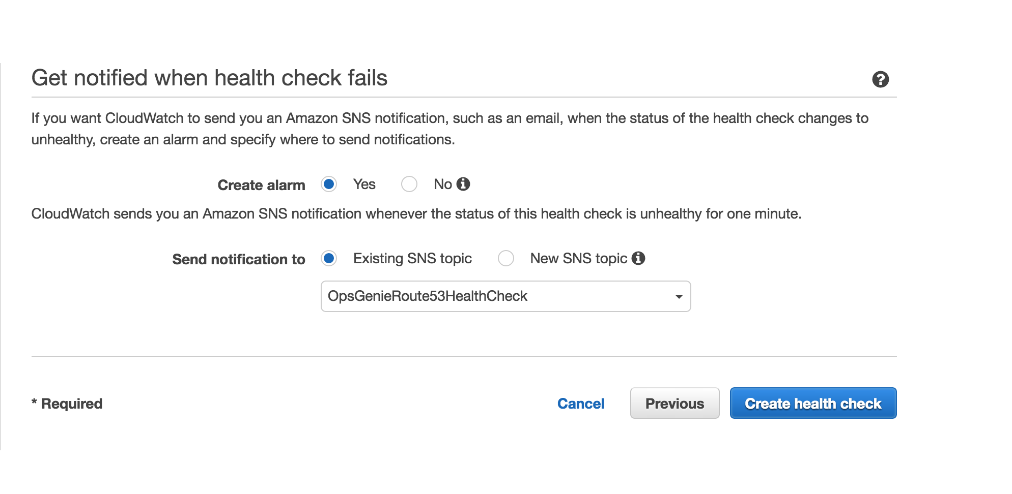 Amazon Route 53 Health Check Creation