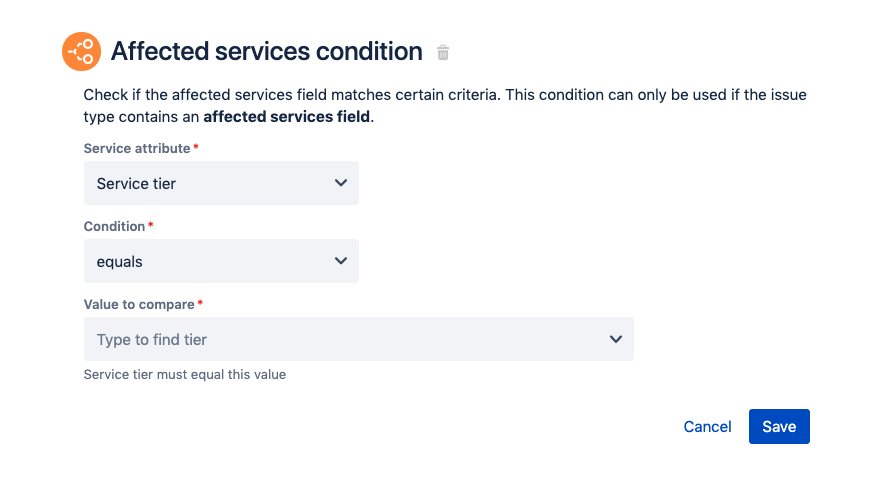 The fields available on the Affected services condition