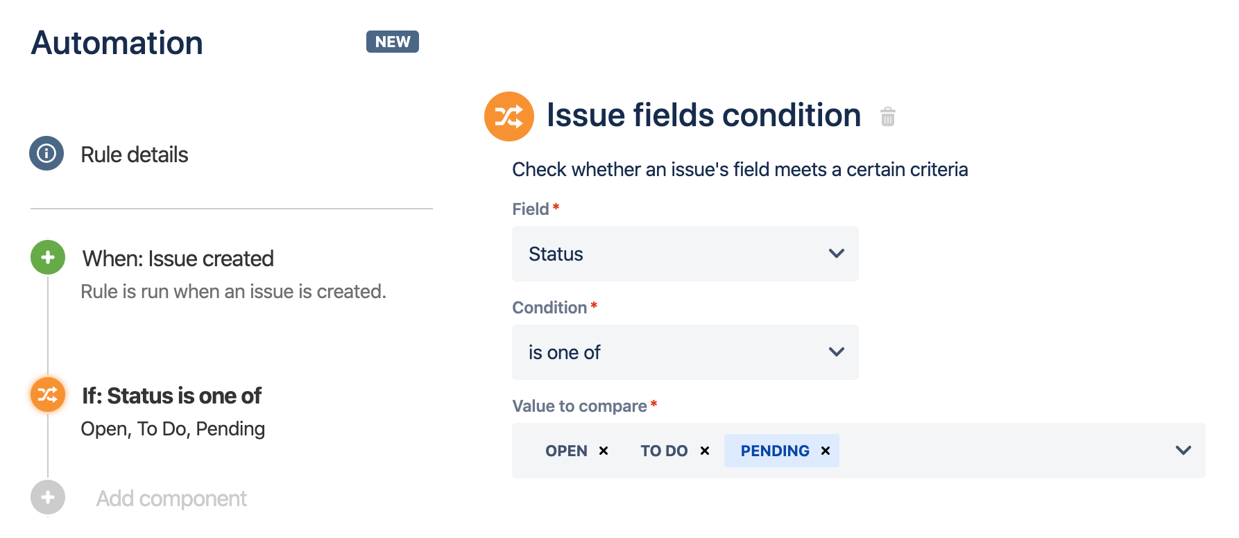 The fields available on the Issue fields condition