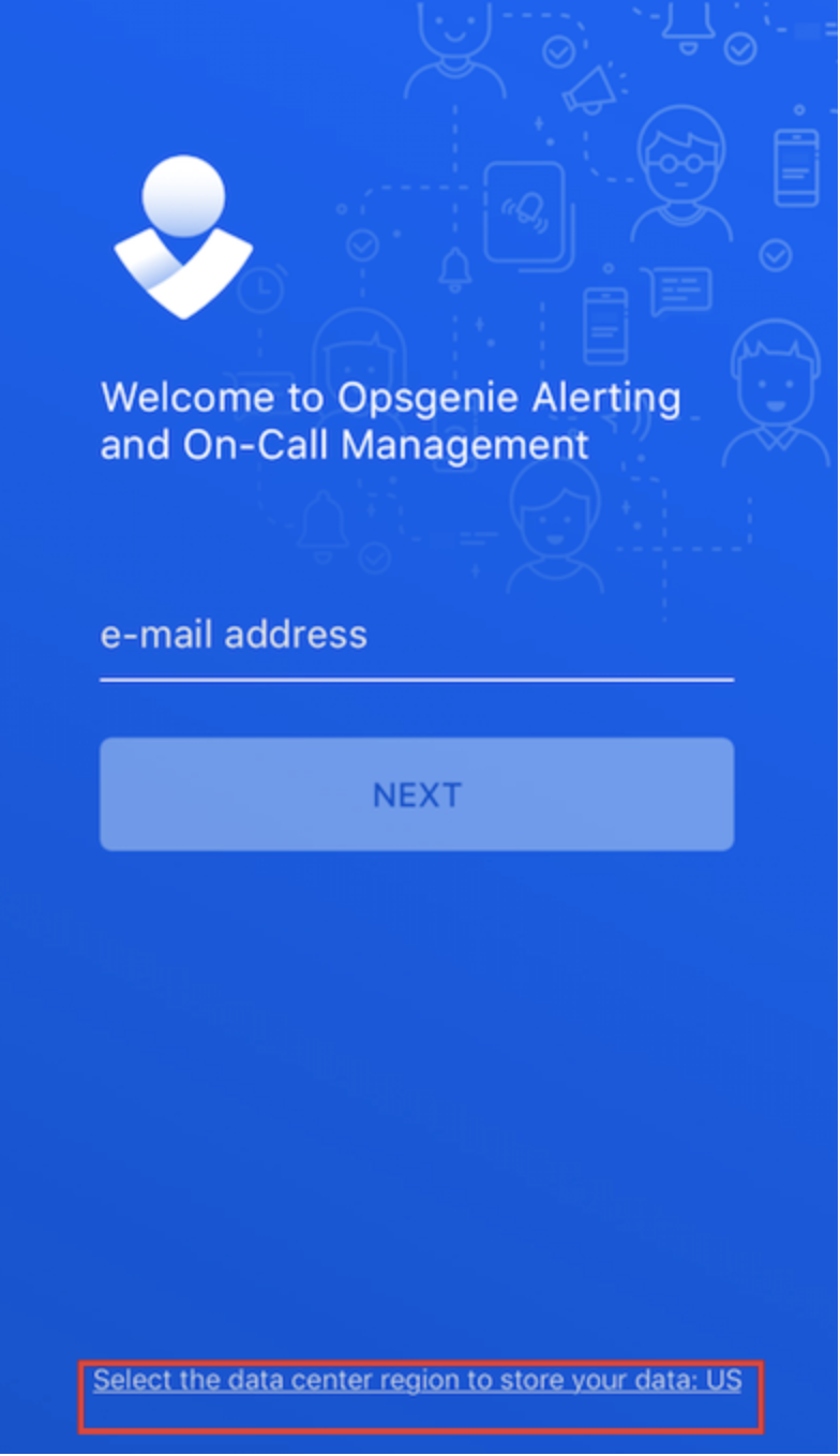 An image showing the link to select Opsgenie's data residency.