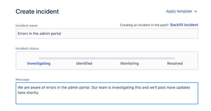 Screenshot of the modal where you create incidents