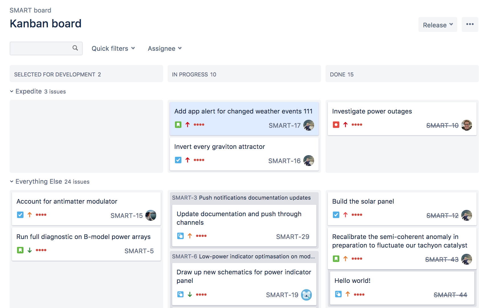 Screenshot of a Kanban board in a Jira Software Cloud showing tasks in different columns and swimlanes.