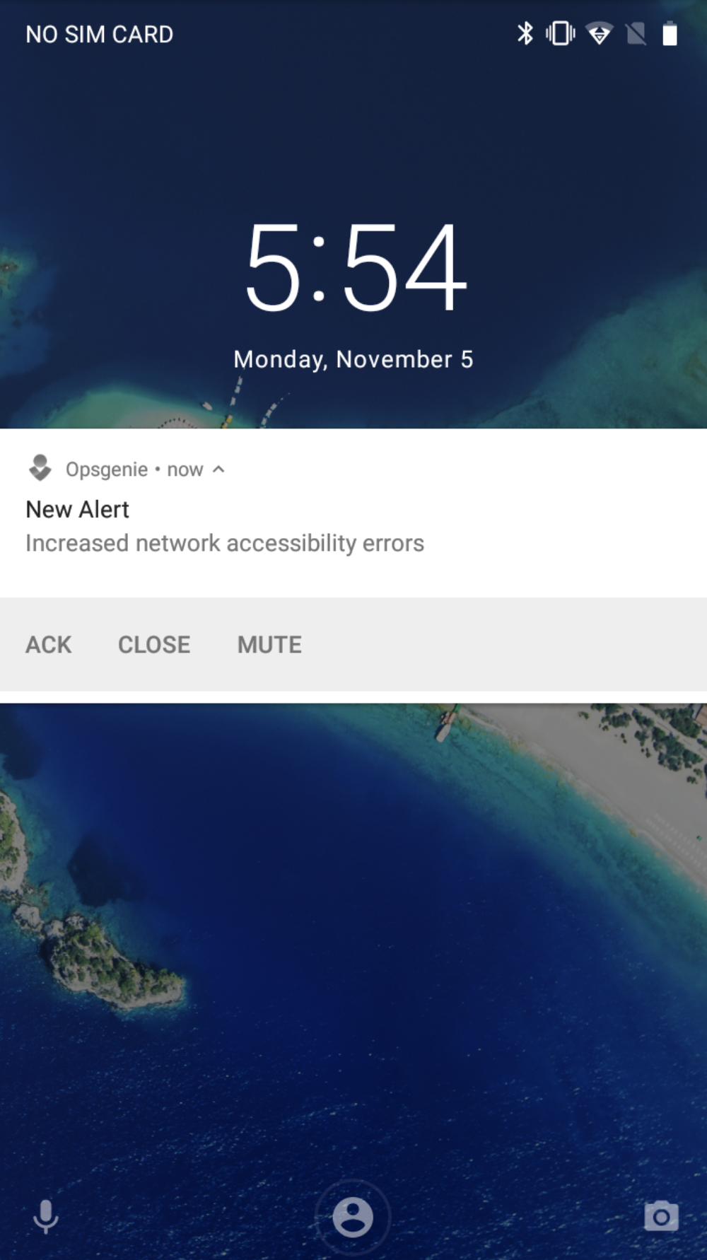A screenshot showing how acknowledge an alert in Opsgenie's Android app.