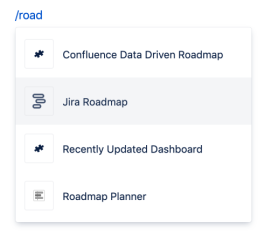 Cropped image of a the Jira Roadmap macro in Confluence.