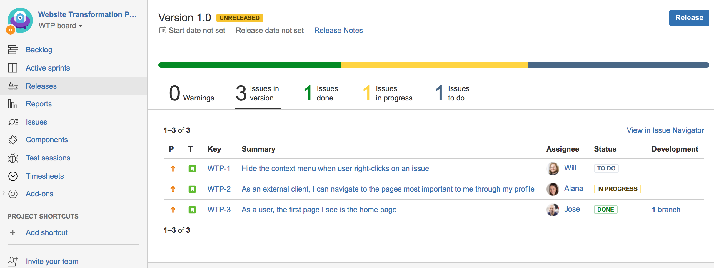 Screenshot of the Release Hub feature in Jira Software, showing the progress of deployments for release version 1.0
