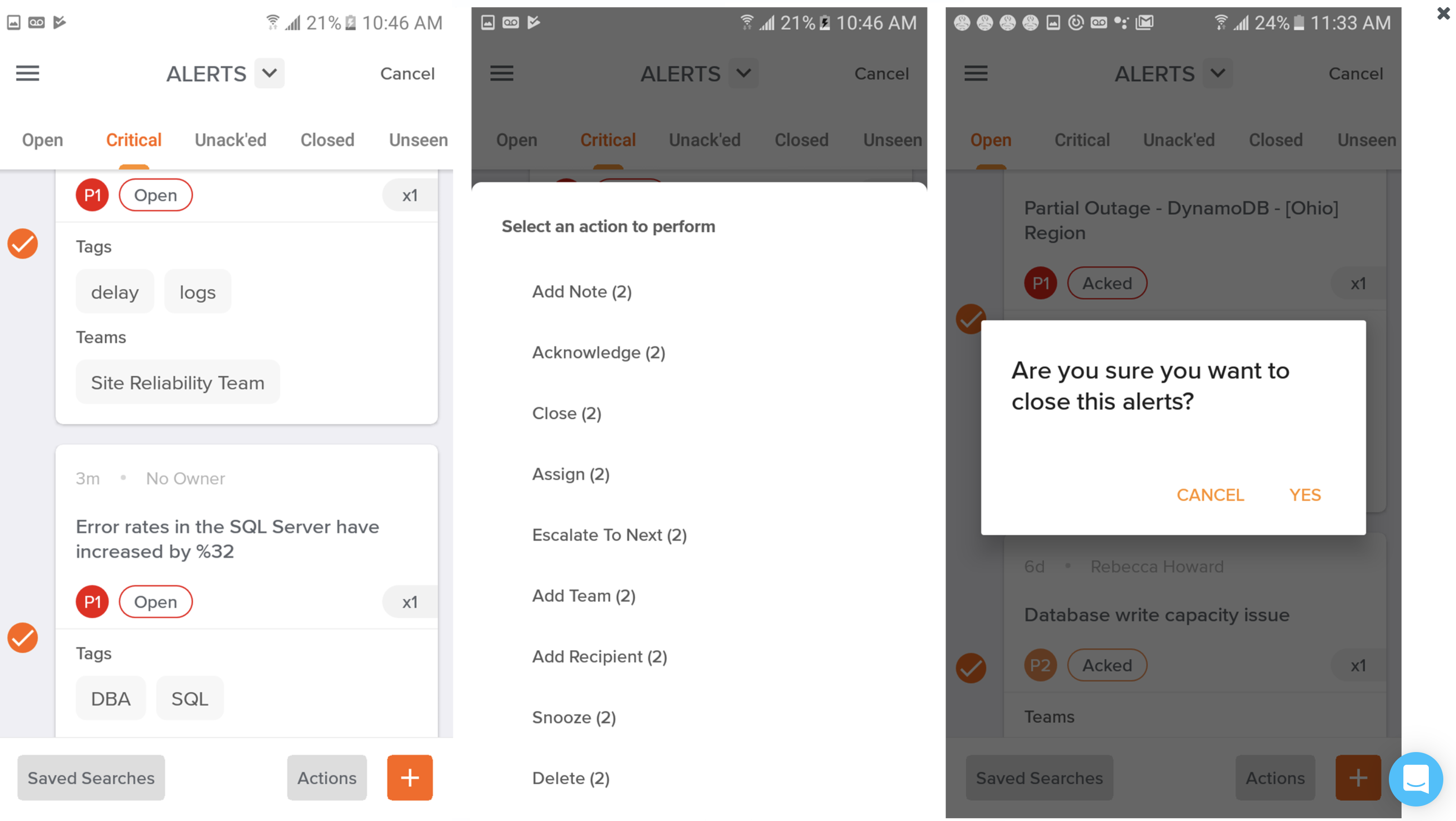 A screenshot showing how to take actions on multiple alerts in Opsgenie's Android app.