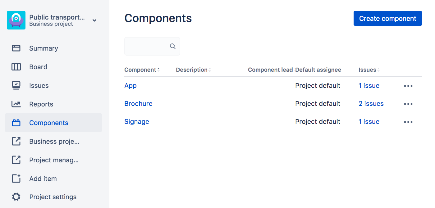 A list of components in a Jira project.