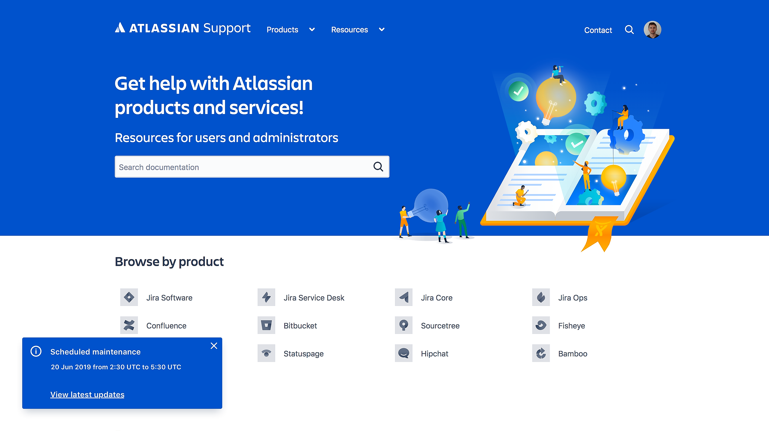 Status embed updates are shown on the Atlassian support website