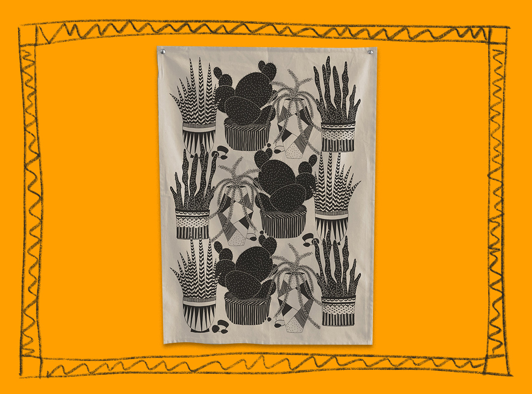 Kitchen towel with cactus illustrations by The Rise and Fall