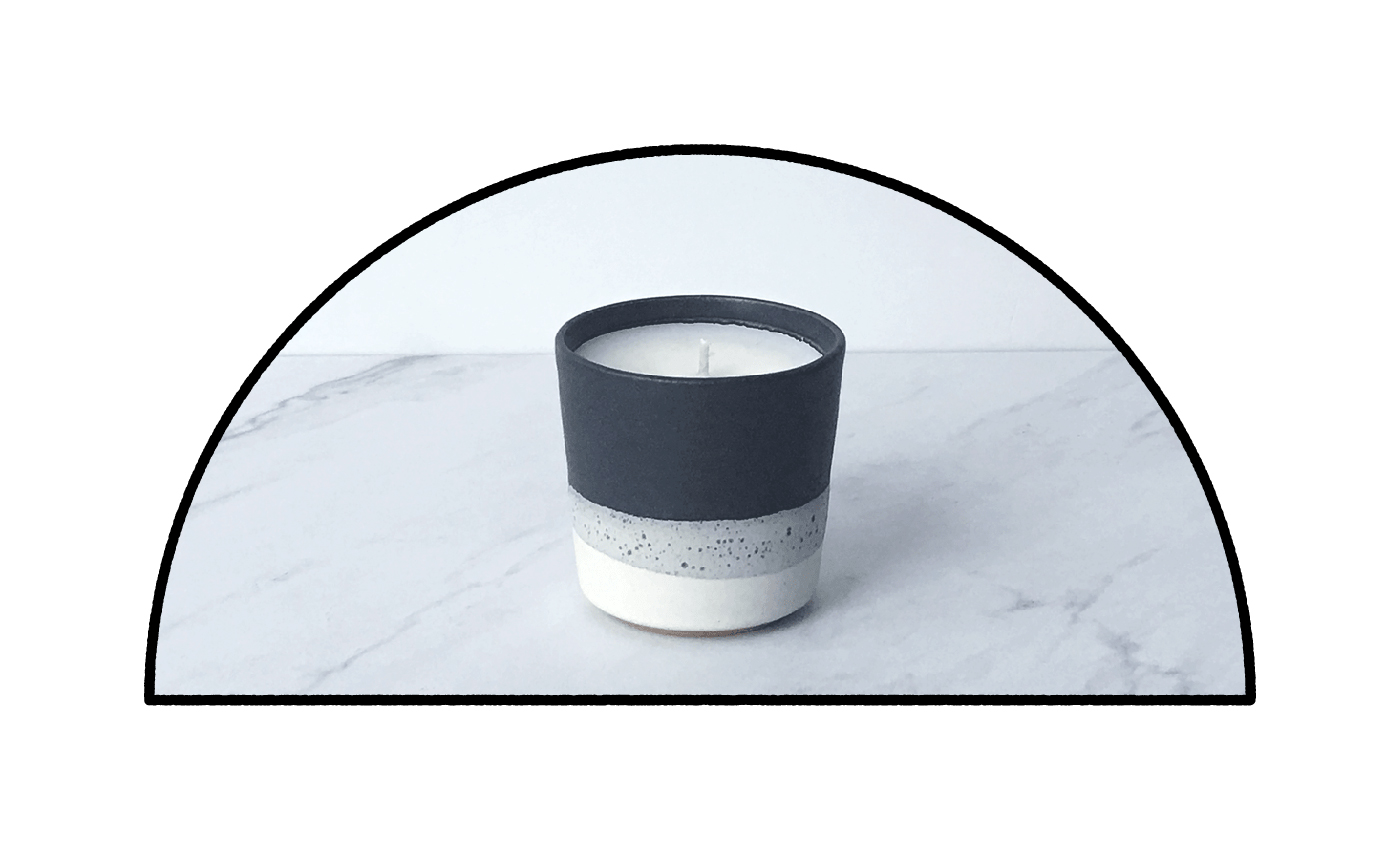 TABAC, coconut wax scented candle in ceramic cup by paulova
