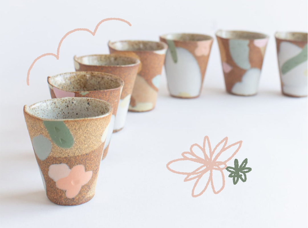 Handmade pottery with floral pattern