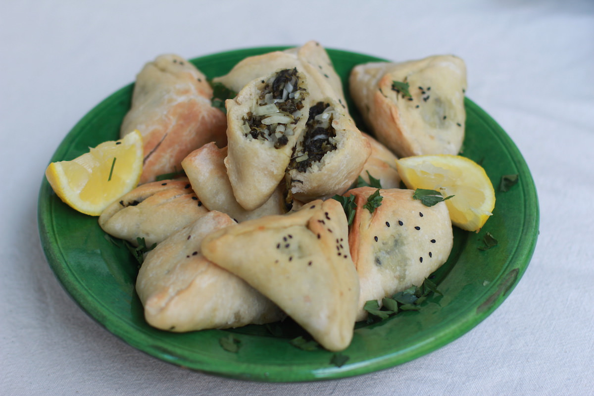 Lebanese Spinach Pies - green plate