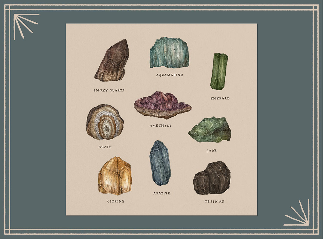 Gems and Minerals Print by Jessica Roux