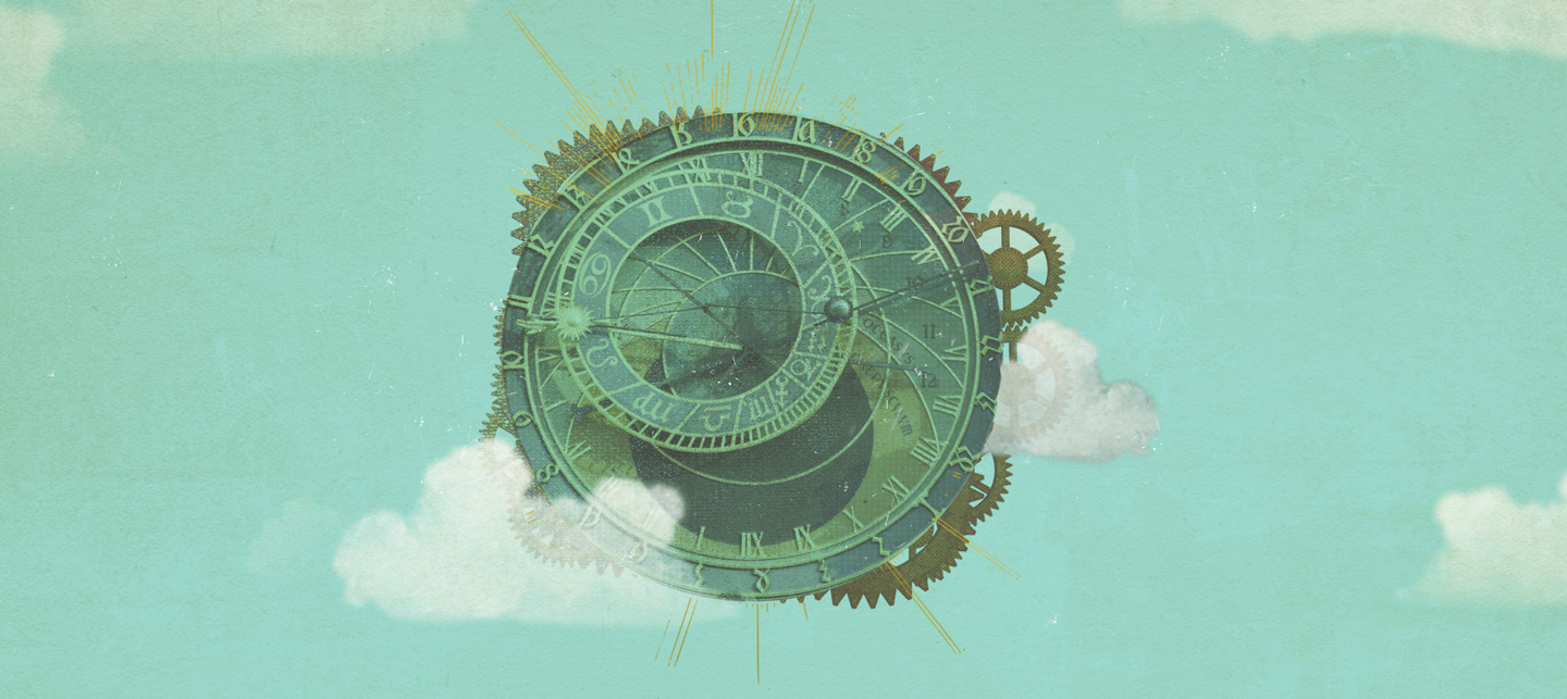 large old clock floating in the clouds