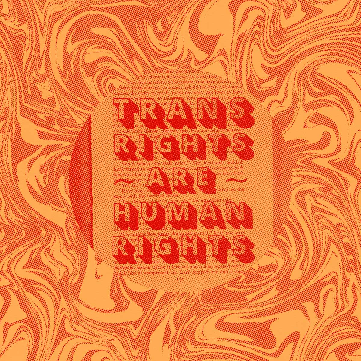 """Page of an old book with the words """"Trans Rights Are Human Rights"""" printed over it"""