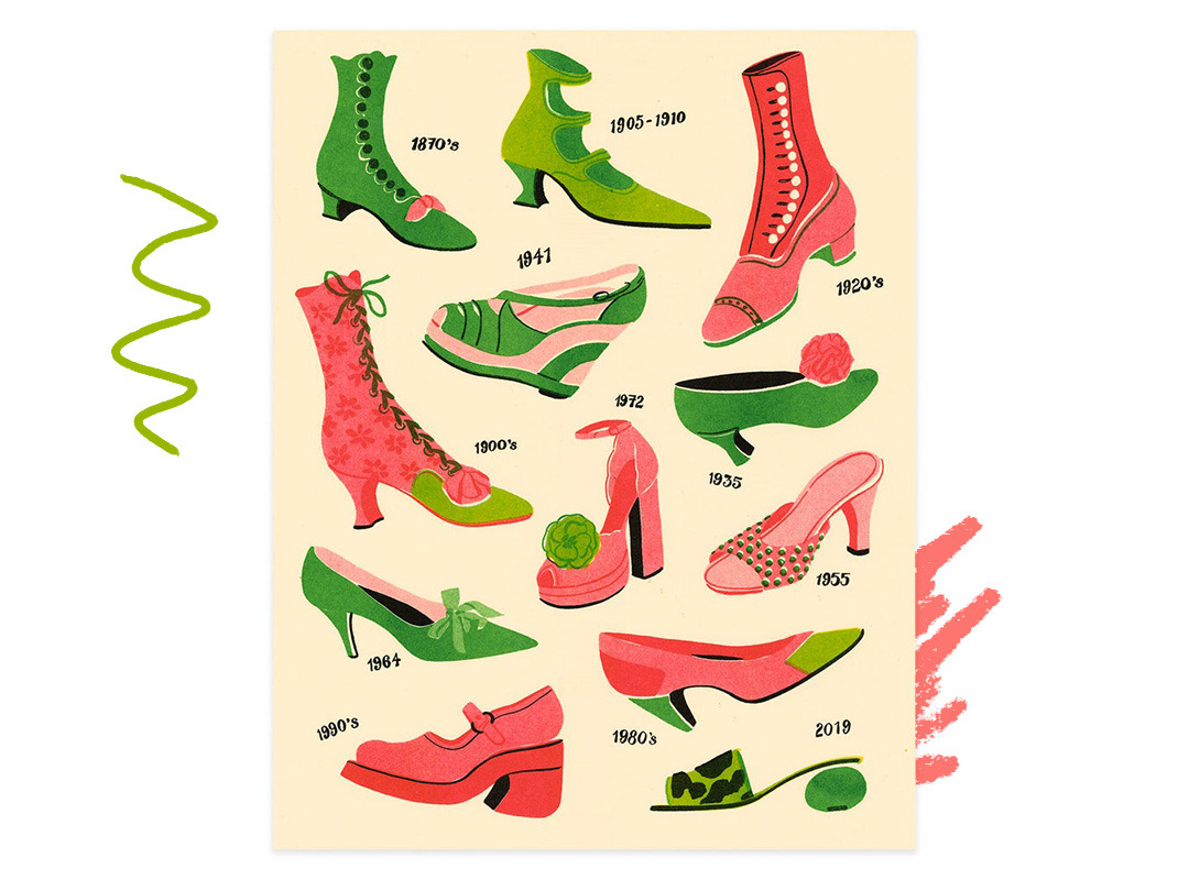 Print featuring artwork of green and pink shoes