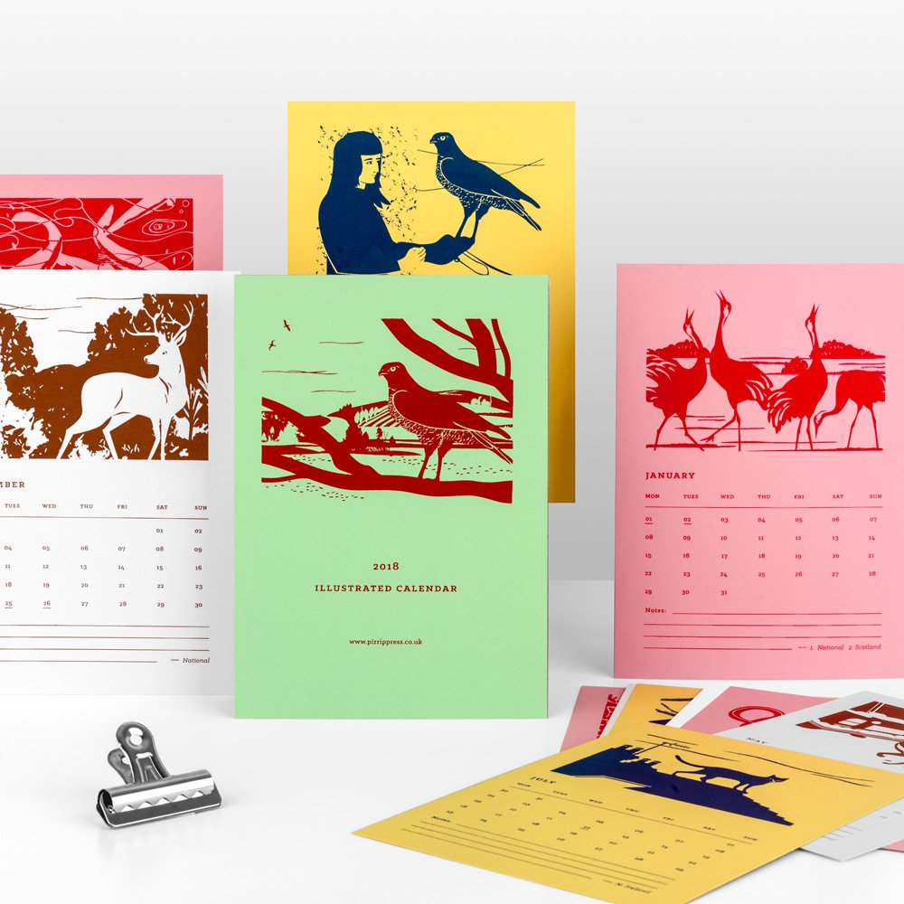 2018+illustrated+calendar+of+creatures+illustrated+and+screenprinted+by+pirrip+2