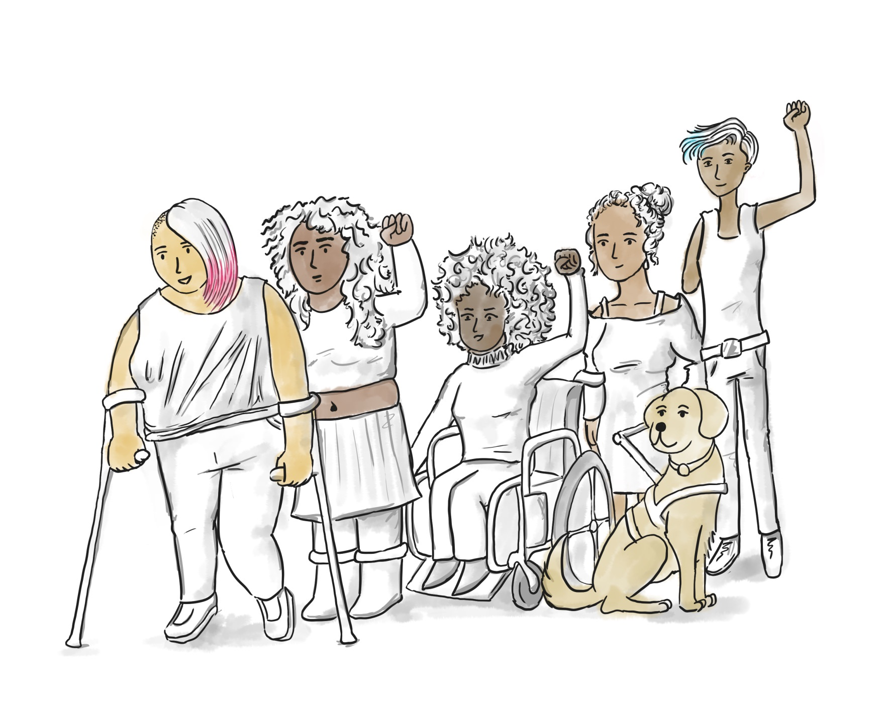 Disabled and Here illustration of an ideal group photo