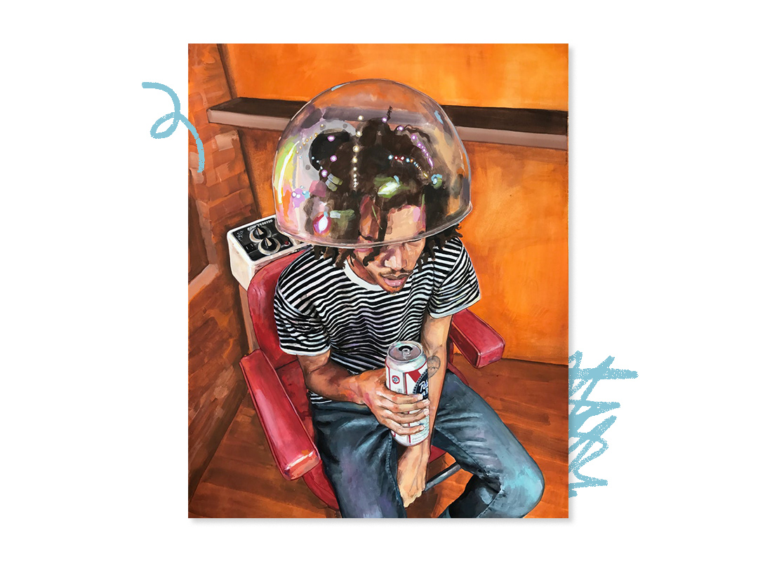 Painting of a young man under a hairdryer