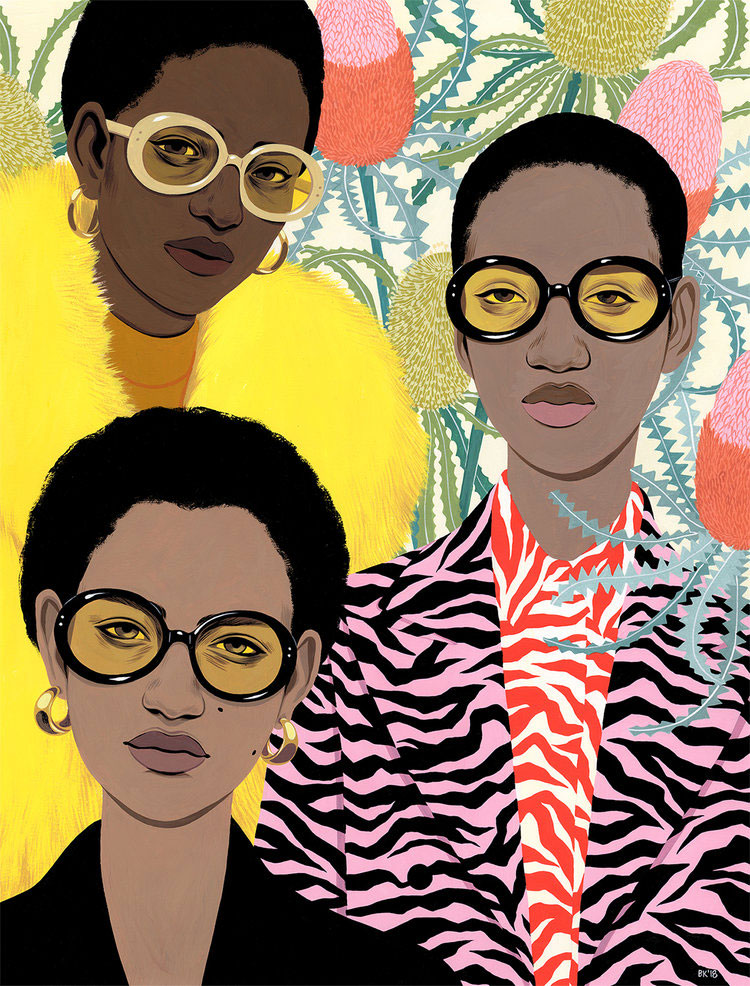Illustration of fashionable women witbold patterned clothing and stlyish sunglasses