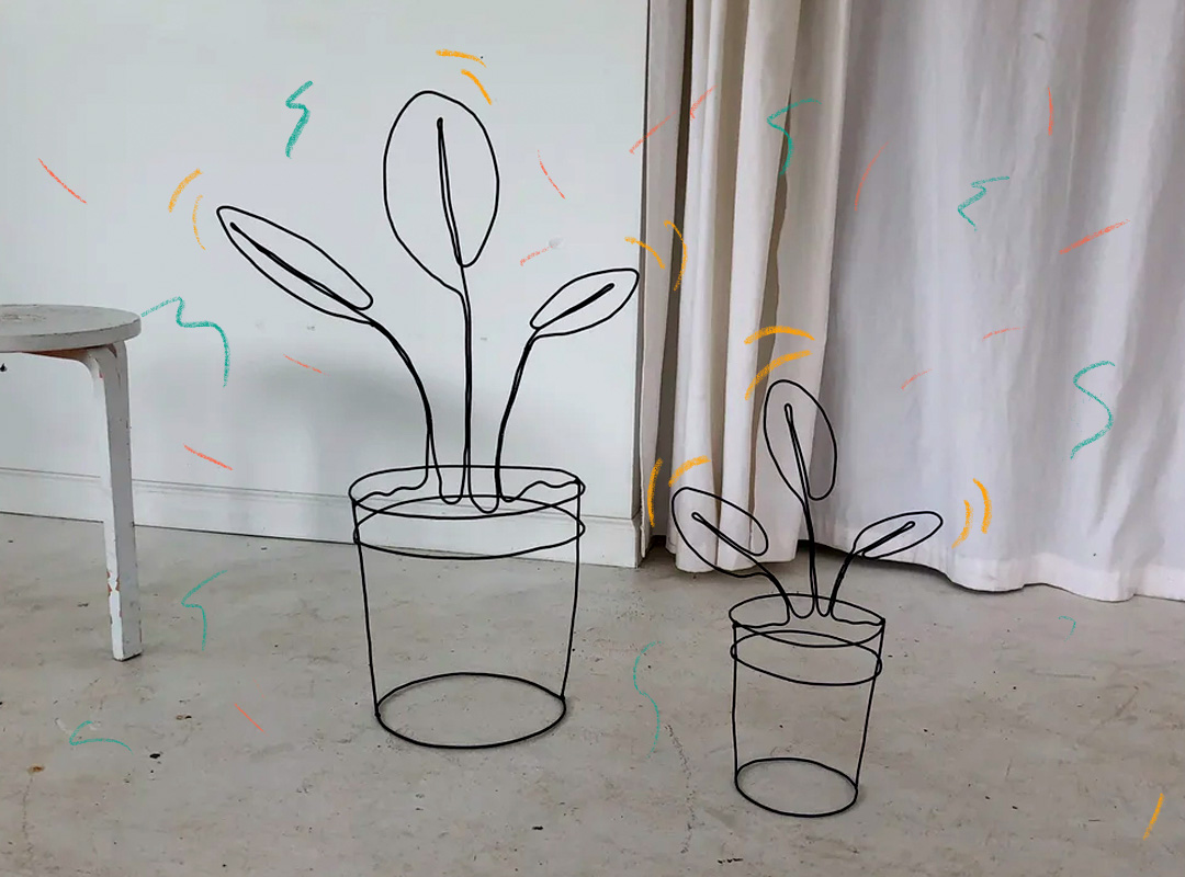 House plant made out of metal wire made by Lane Walkup