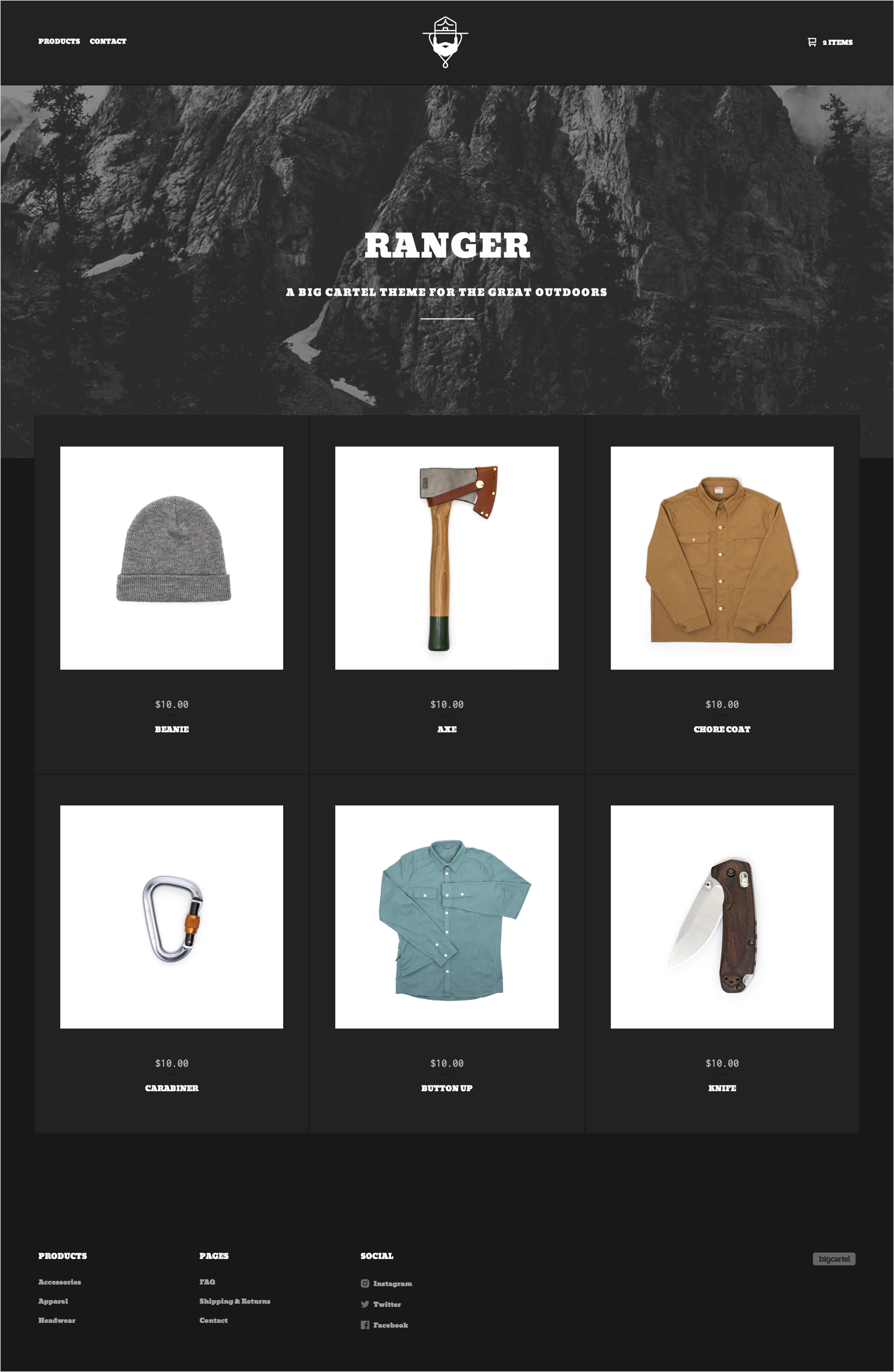 dark home page