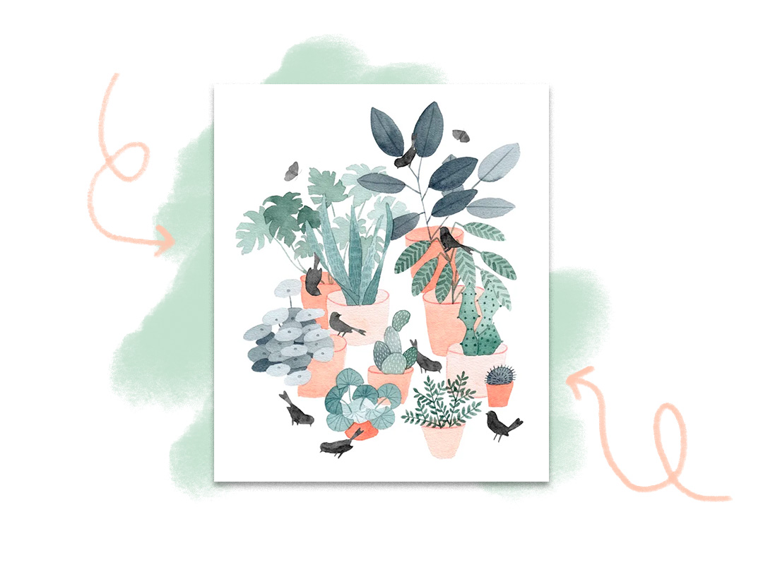 Watercolor illustration of potted plants and small birds