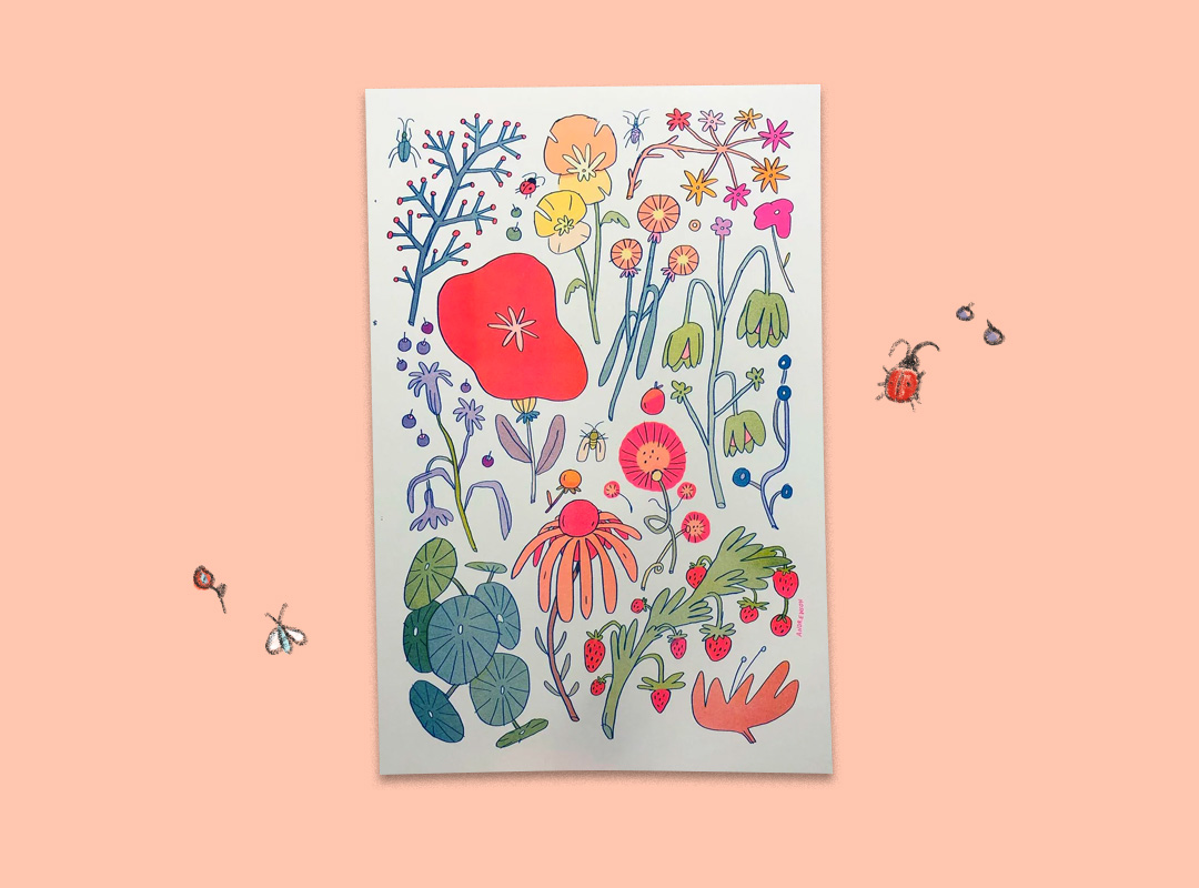 Colorful print with illustrated bugs and flowers