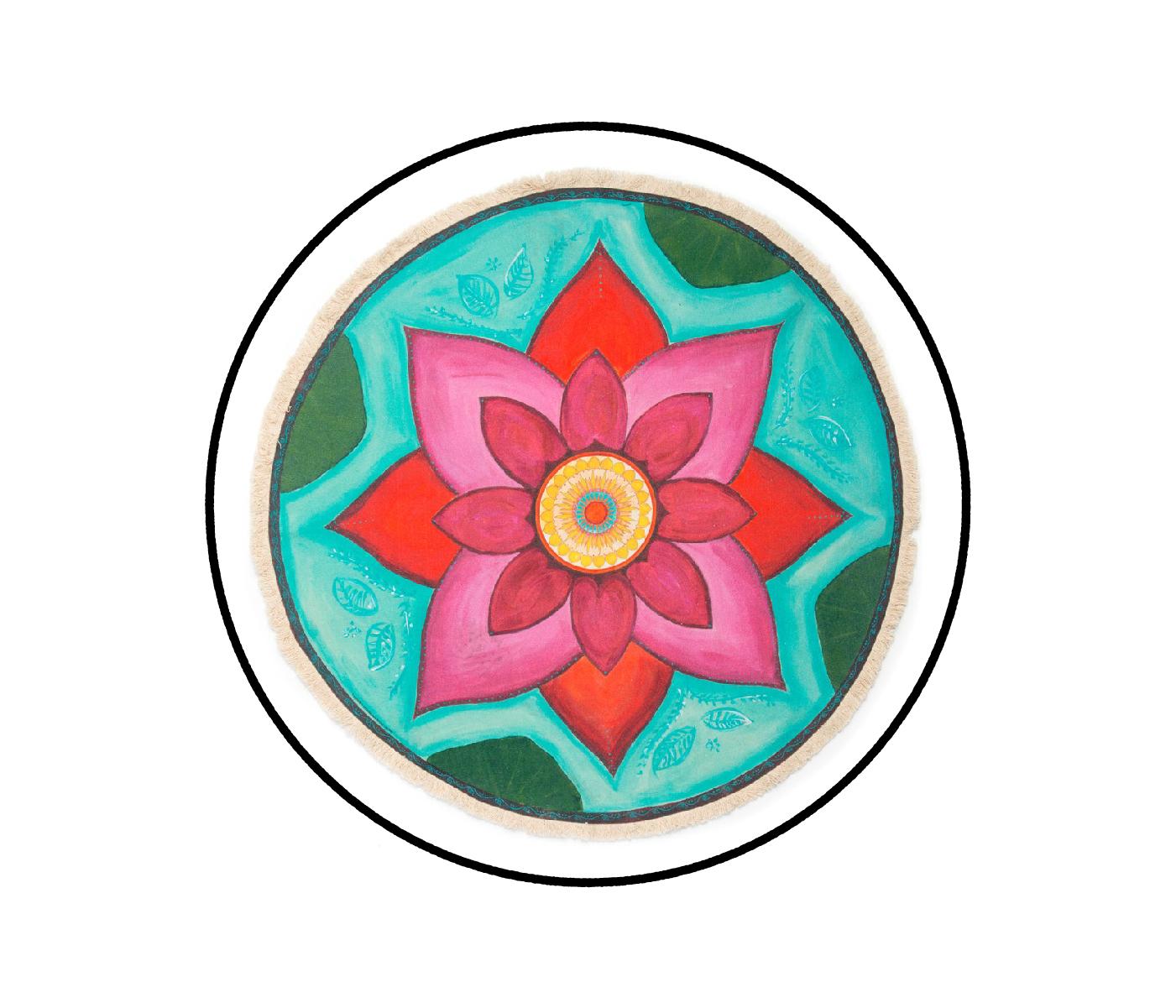 """New Beginnings"" - Pink Lotus Textile Meditation Mat by Mandala Blooms"