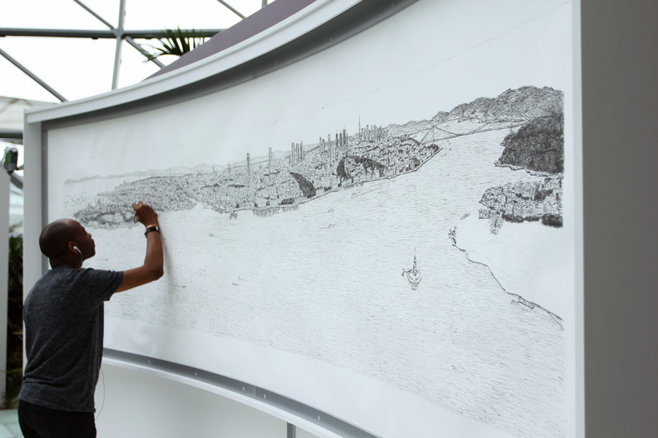 Stephen Wiltshire, a British artist with autism, drawing Istanbul skyline from memory in 2014.
