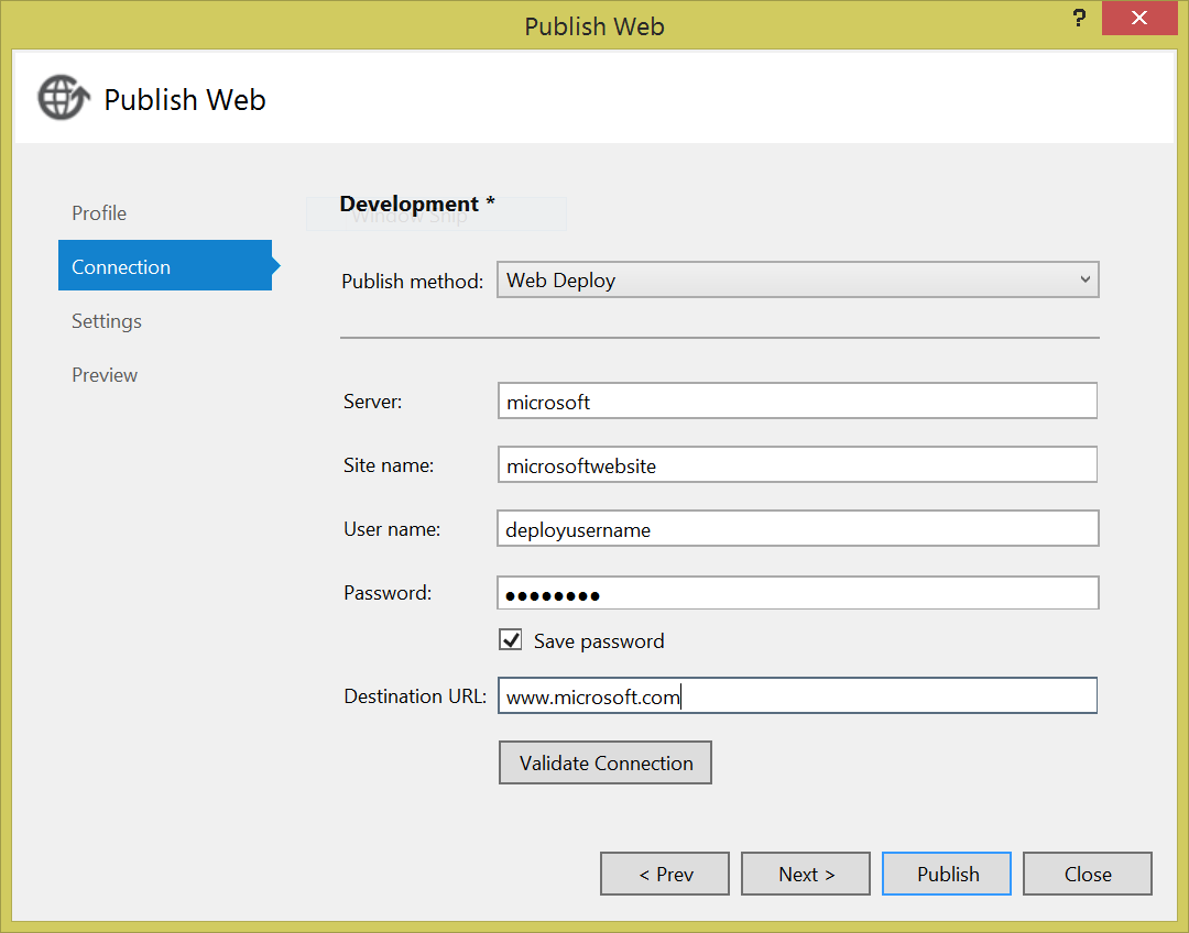 Example of Publish Profile in Visual Studio