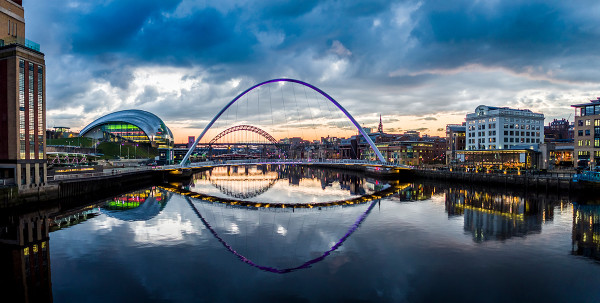 In the cultural heart of the City: a view of Gateshead Millennium Bridge