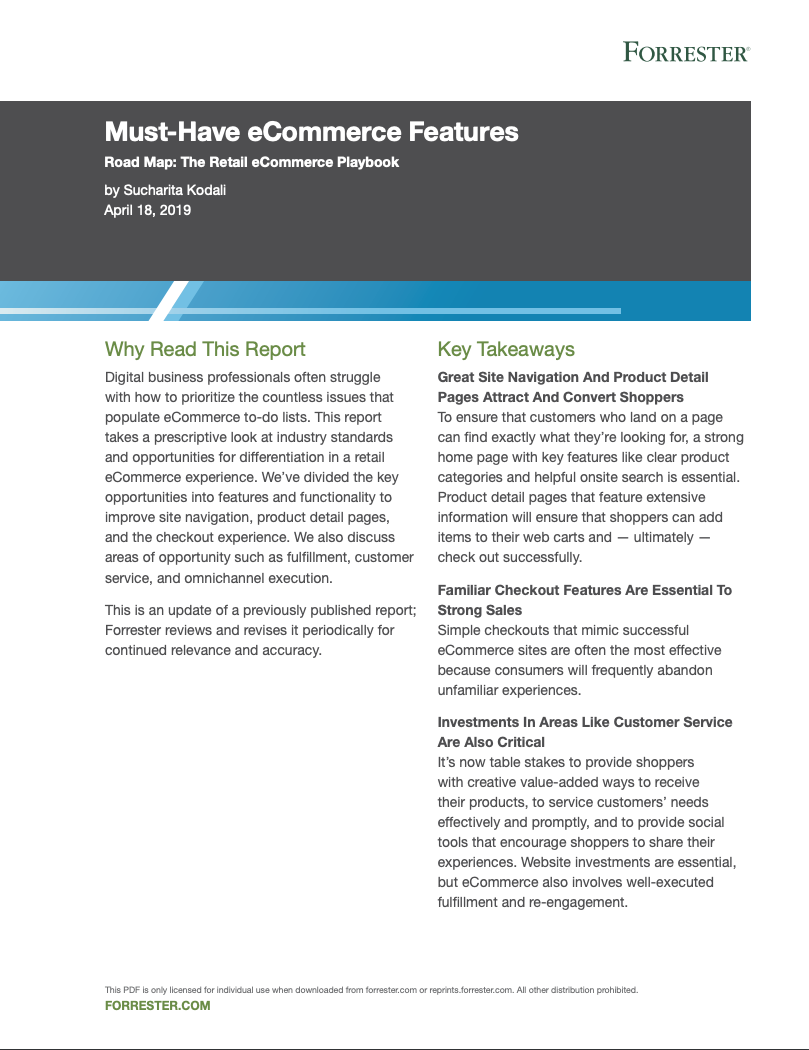 Forrester: Must-Have eCommerce Features