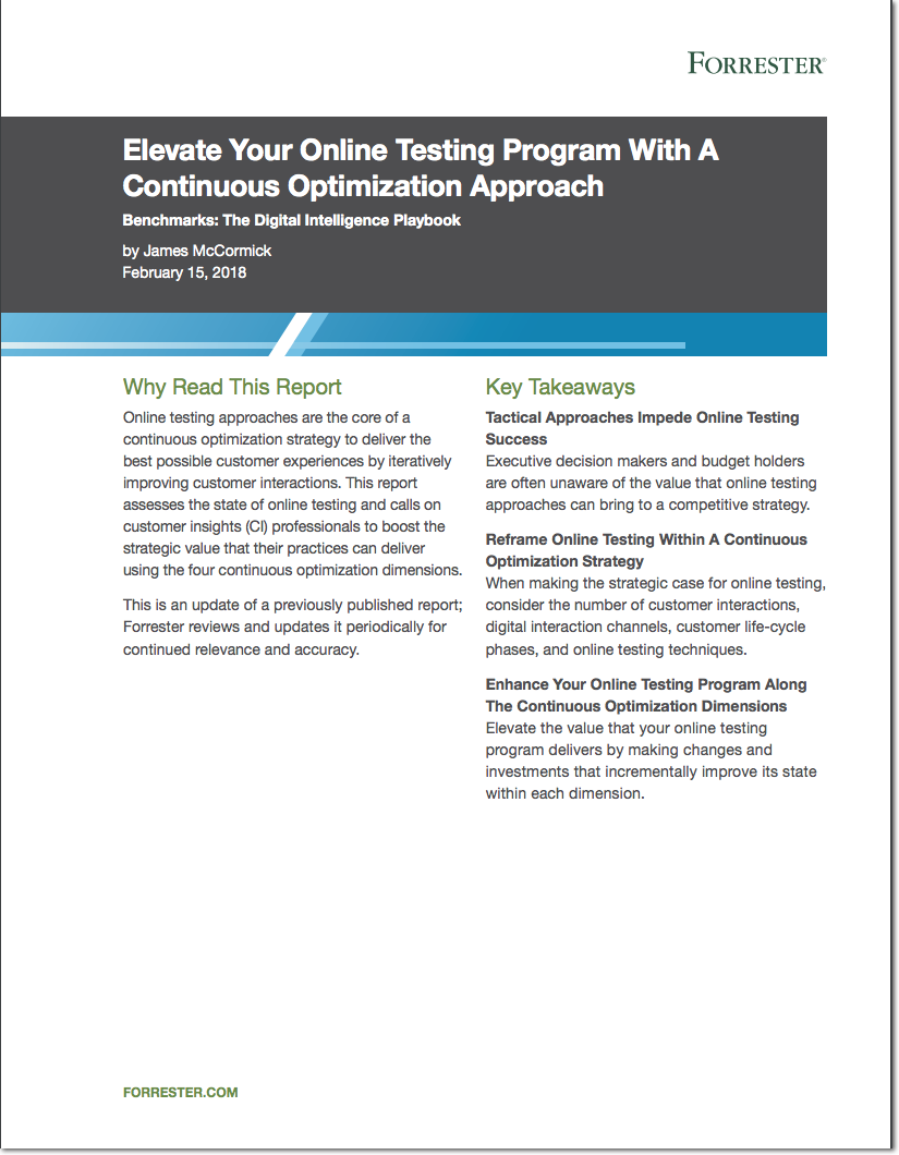 Forrester Report: Elevate Your Online Testing Program With A Continuous Optimization Approach