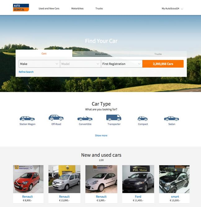 Homepage of AutoScout24