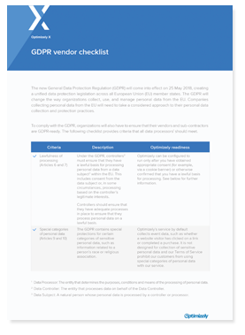 GDPR Vendor Checklist shadow