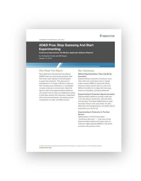 Forrester Report - AD&D Pros: Stop Guessing And Start Experimenting