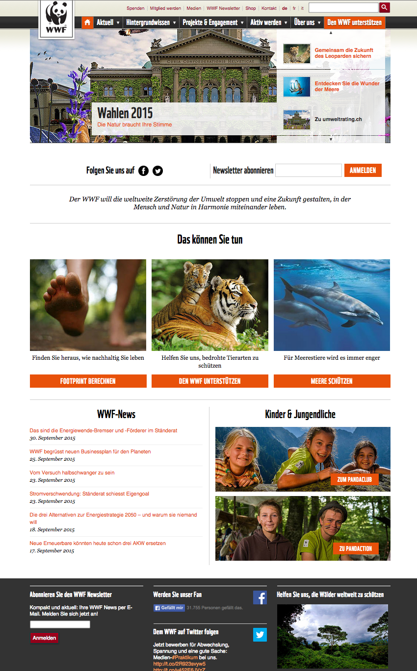 The new WWF homepage